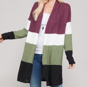 Color Block Brushed Open Front Cardigan